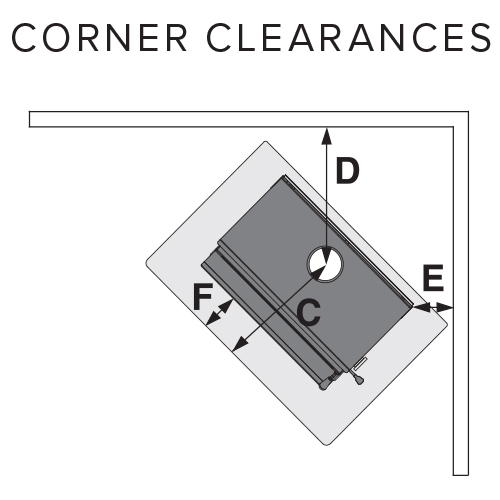 outdoor fire corner clearances